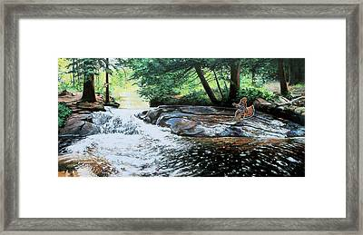 In Flight Grouse Framed Print by Larry Seiler