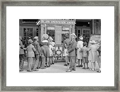 In Front Of A Movie Theater, Chicago, Illinois Framed Print