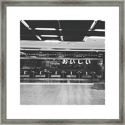 In Front Of Cafe With Perspective Of Decorated Ceiling And Floor Tile Black And White Color Framed Print by Sirikorn Techatraibhop