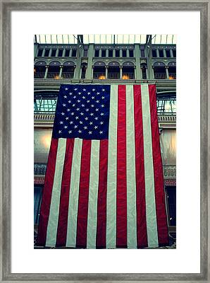 In God We Trust American Flag Milwaukee Wi Framed Print by Laura Pineda
