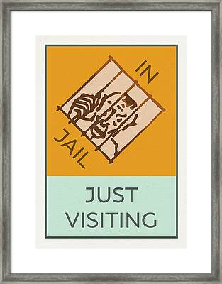 In Jail Or Just Visiting Vintage Monopoly Board Game Theme Card Framed Print