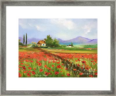 In Love With Toscana's Poppies Framed Print by Viktoriya Sirris