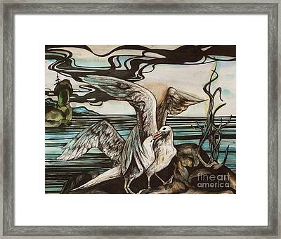 Framed Print featuring the drawing In Memory Of Deceased Friend. by Anna  Duyunova
