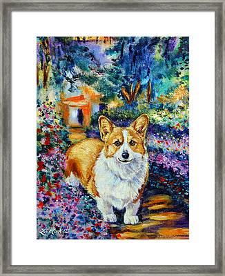 In Monet's Garden - Pembroke Welsh Corgi Framed Print
