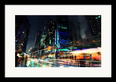City Mixed Media Framed Prints