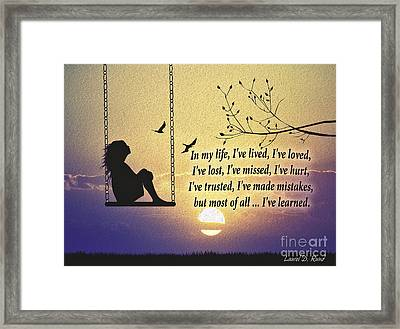 In My Life Framed Print