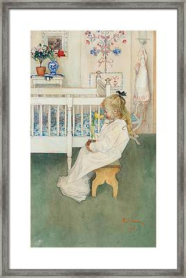 In Nightshirt - Lisbeth With A Yellow Tulip Framed Print