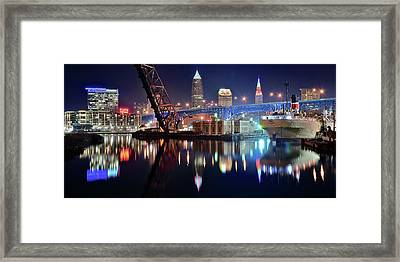 In Port For Winter Panorama Framed Print by Frozen in Time Fine Art Photography