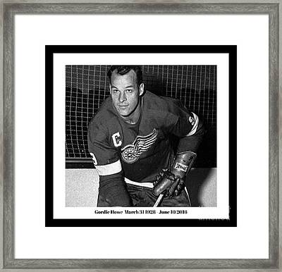 In Remembrance Of Gordie Howe  Framed Print by Pd