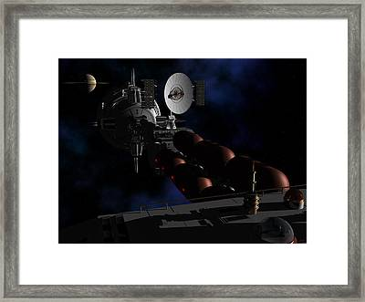 Framed Print featuring the digital art In Sight Of Saturn by David Robinson
