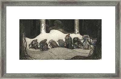 In The Christmas Night  Framed Print by John Bauer