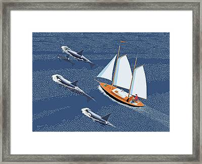 Framed Print featuring the digital art In The Company Of Whales by Gary Giacomelli