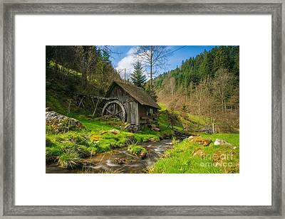 In The Countryside - Old Barn Near River Framed Print