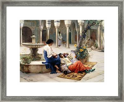 In The Courtyard Of The Harem Framed Print by Max Ferdinand Bredt