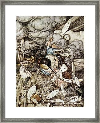 In The Duchesss Kitchen Framed Print by Arthur Rackham