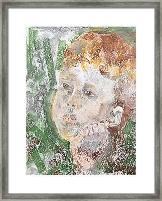 Framed Print featuring the pastel In The Eyes Of A Child by Norma Duch