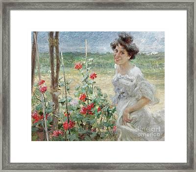 In The Flower Garden, 1899 Framed Print