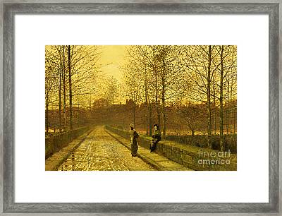In The Golden Gloaming Framed Print by John Atkinson Grimshaw