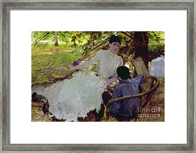 In The Hammock II, 1884 Framed Print