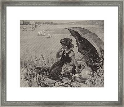 In The Harvest Field, Guardians Of The Luncheon Basket Framed Print by Frederick Morgan
