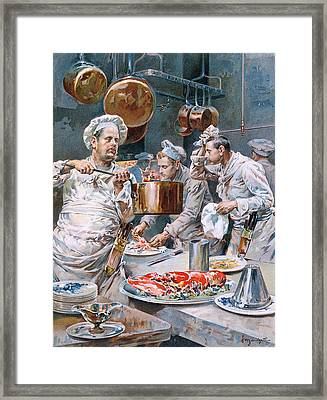 In The Kitchen Framed Print by G Marchetti