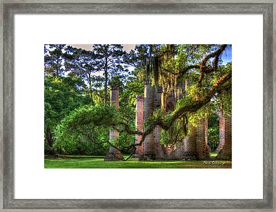 In The Light Spanish Moss Old Sheldon Church Ruins Framed Print by Reid Callaway