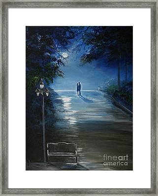 In The Loving Moonlight Framed Print by Leslie Allen