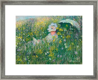 In The Meadow Framed Print by Claude Monet