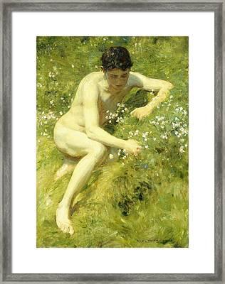 In The Meadow Framed Print by Henry Scott Tuke