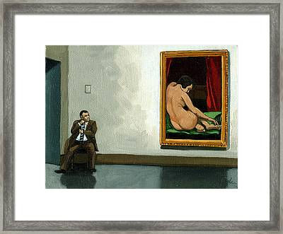 In The Moment - Figurative Oil Painting Framed Print by Linda Apple