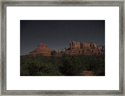 In The Moonlight Bell Rock Courthouse Butte Sedona Framed Print