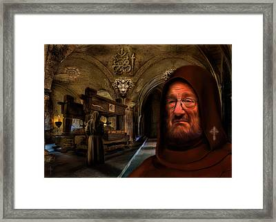 In The Name Of The Rose - Homage To Umberto Eco Framed Print by Daniel Arrhakis