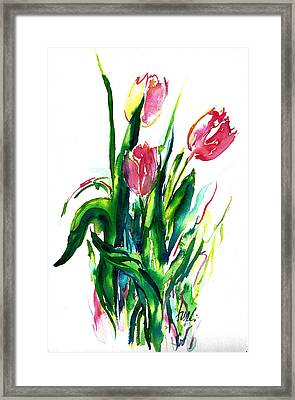 In The Pink Tulips Framed Print