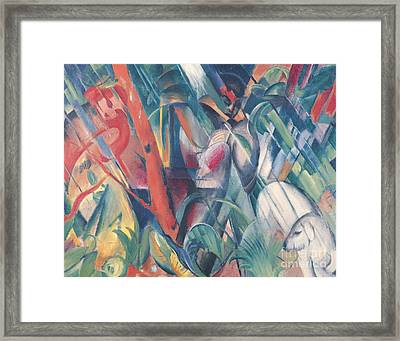 In The Rain Framed Print by Franz Marc