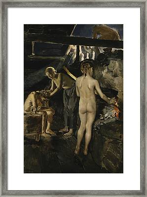 In The Sauna Framed Print by Akseli Gallen-Kallela