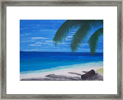 In The Shade Of A Palm Framed Print by Nancy Nuce
