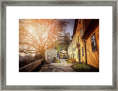In The Shadow Of Salzburg Castle  Framed Print