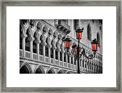 In The Shadow Of The Doges Palace Venice Framed Print