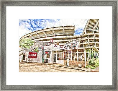 In The Shadow Of The Stadium Framed Print by Scott Pellegrin