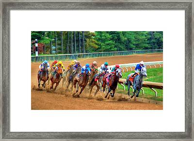 In The Turn At Keeneland Framed Print by Sam Davis Johnson