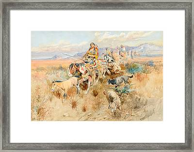 In The Wake Of A Cree Hunting Party Framed Print by Celestial Images