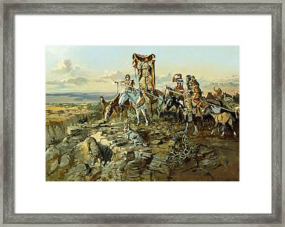In The Wake Of The Hunters Framed Print by Charles Marion Russell