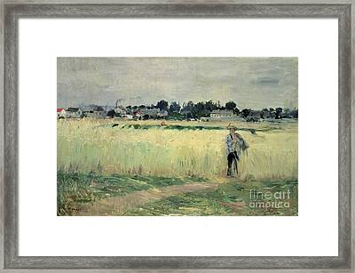 In The Wheatfield At Gennevilliers Framed Print
