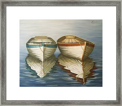 Framed Print featuring the painting In Touch by Natalia Tejera