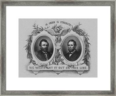 In Union Is Strength - Ulysses S. Grant And Schuyler Colfax Framed Print by War Is Hell Store