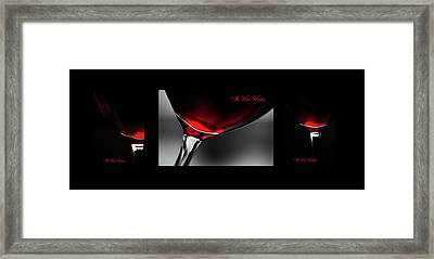 In Vino Veritas. Black Framed Triptych Framed Print by Jenny Rainbow