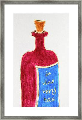 Framed Print featuring the drawing In Vino Very Tas by Frank Tschakert