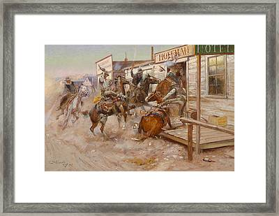 In Without Knocking Framed Print by Charles Marion Russell