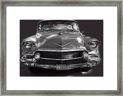 In Your Face - 1956 Cadillac Bw Framed Print by Linda Phelps
