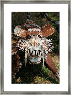 In Your Face Tiger Framed Print by Linda Phelps